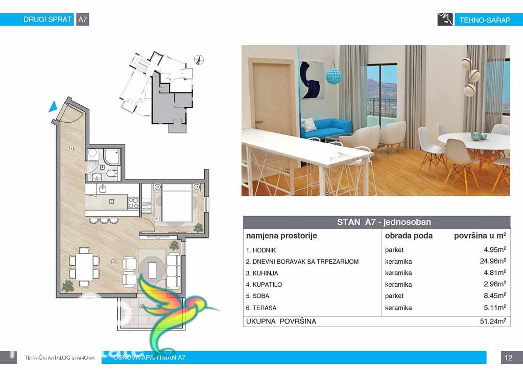 One bedroom apartment 51.24m2